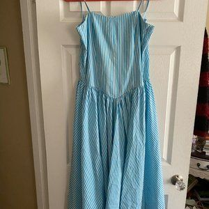 Vintage Blue Striped Drop Waist Handmade Dress